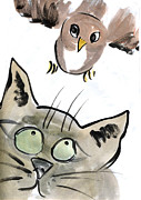 Cat Drawings Prints - Bird Print by Ellen Miffitt