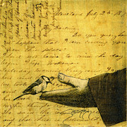 Love Letter Mixed Media Prints - Bird In Hand Print by Jenny Berry
