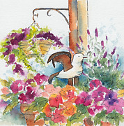 Blue Begonias Framed Prints - Bird In The Begonias Framed Print by Pat Katz