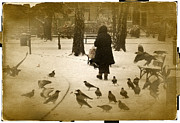 Park Birds Framed Prints - Bird Lady of Warsaw Framed Print by Richard Cummings
