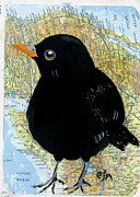 Blackbird Mixed Media Metal Prints - Bird Land Metal Print by Cindi Finley Mintie