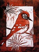 Bird Linocut 2 Print by Penny OHalloran