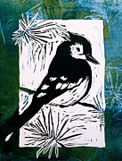 Greens Reliefs Framed Prints - Bird Linocut 3 Framed Print by Penny OHalloran