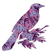 Painted Image Prints - Bird Love Print by Ramneek Narang