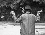Luxembourg Gardens Prints - Bird Man - Paris People Series Print by Georgia Fowler