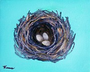 Baby Bird Mixed Media Framed Prints - Bird Nest Framed Print by Venus