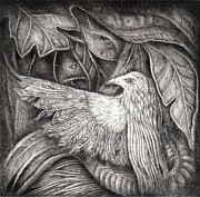 Drypoint Prints - Bird of life Print by Praphavit Premtha