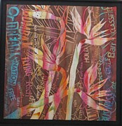 Bird Tapestries - Textiles Prints - Bird Of Paradise with Lettering Print by Beena Samuel