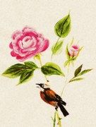 Cloth Digital Art Posters - Bird on a Flower Poster by Anastasiya Malakhova