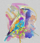 Colorful Owl Paintings - Bird on a twig by Catf