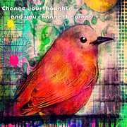 Change Painting Prints - Bird on a Wire Print by Robin Mead