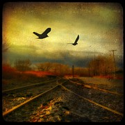 Fall Colors Digital Art Prints - Bird Rail Print by Gothicolors And Crows