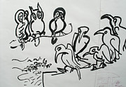 Rooftop Drawings - Bird talk by Godfrey McDonnell