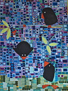 Little Birds Paintings - Bird Tricks by Donna Howard