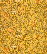 Yellow Tapestries - Textiles Prints - Bird wallpaper design Print by William Morris