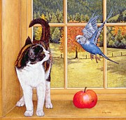 Whiskers Paintings - Bird Watching by Ditz