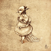 Edward Gorey Prints - Bird Woman Print by Autogiro Illustration
