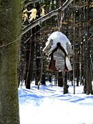Birdhouse In Winter Print by Avis  Noelle