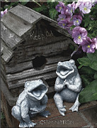 Discrimination Digital Art Posters - Birdhouse with Frogs Poster by Bonnie Willis