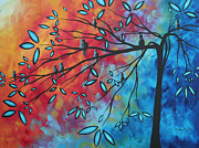 Megan Duncanson Metal Prints - Birds and Blossoms by MADART Metal Print by Megan Duncanson