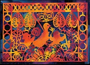 Purim Prints - Birds carnival Print by Nekoda  Singer
