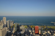 Skyline. Skylines Prints - Birds eye view of Chicagos lakefront Print by Christine Till