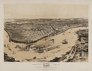 Vintage Map Digital Art Acrylic Prints - Birds Eye View of New Orleans 1852 Acrylic Print by Digital Reproductions