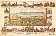 Geography Mixed Media Framed Prints - Birds Eye View of Reno Framed Print by Pg Reproductions