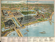 Old Map Photo Framed Prints - Birds eye view of the Worlds Columbian Exposition Chicago 1893 Framed Print by Edward Fielding