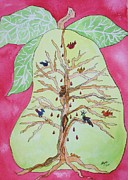 Pear Tree Painting Metal Prints - Birds in a Pear Tree  Metal Print by Ellen Levinson