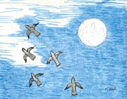 Grey Clouds Drawings Prints - Birds in Flight and Morning Moon Print by Catherine Kirby