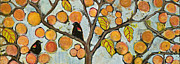 Blackbirds Painting Posters - Birds in Paris Landscape Poster by Blenda Studio