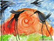 Birds In The Sun. A Black Bird Study 2013 Print by Cathy Peterson