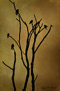 Black Top Digital Art Prints - Birds in Tree Print by Dave Gordon
