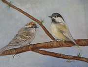 Warbler Mixed Media Metal Prints - Birds in View Metal Print by Virginia Souza