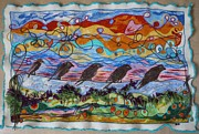 Energy Tapestries - Textiles Prints - Birds of a Feather 1 Print by Heather Hennick