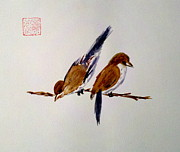 On A Branch Paintings - Birds of a Feather by Margaret Welsh Willowsilk