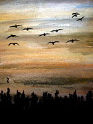 Canadian Geese Pastels - Birds of a Feather by R Kyllo