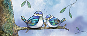 Engagement Digital Art Metal Prints - Birds of Blue Metal Print by Karin Taylor