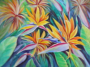 Summer Celeste Painting Prints - Birds of Paradise Print by Summer Celeste
