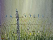 Ray Huffman - Birds on a fence