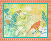 Birds On Watercolor-b Print by Jean Plout
