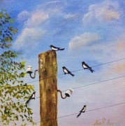 Starlings Paintings - Birds on Wire by Nina R Aide