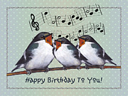 Wildlife Celebration Mixed Media - Birds Singing Birthday Card by Joyce Geleynse