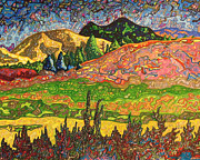 American West Drawings - Birdseye landscape #2 by Dale Beckman