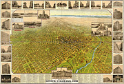 American City Drawings Prints - Birdseye Map of Denver Colorado Print by Eric Glaser