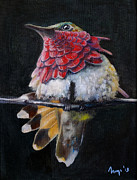 Realistic Mixed Media Originals - Birdy / oil on canvas painting of realistic looking bird by Ingaga