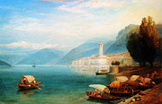 Gold Foil Prints Framed Prints - Birket Foster Lake Como Framed Print by MotionAge Art and Design - Ahmet Asar
