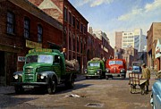 Old England Painting Prints - Birmingham fruit and veg market. Print by Mike  Jeffries