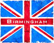 Jacks Digital Art - Birmingham Vintage Union Jack Flag by Mark E Tisdale